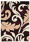 Carpeto Rugs Tapis Salon Marron 300 x 400 cm Classique Floral/Monaco Collection