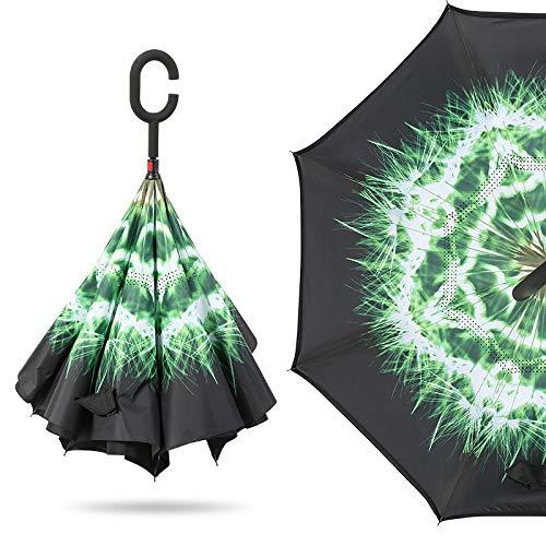 Doppeldecker-Reverse-Regenschirm Frei Regenschirm Löwenzahn 23 Zoll * 8 Knochen ()