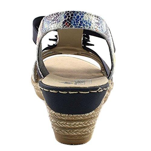 Rieker 62461 Damen Offene Sandalen mit Keilabsatz Ice/Navy
