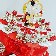 Idea Regalo - bomboniere Laurea Ragazza Argentato su Torta portaconfetti - Torta con scatoline a Forma di Fetta + 25 laureati + Centrale + Confetti Rossi Cioccolato