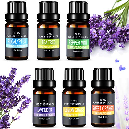 Ätherische Öle Set, Aiemok 6 x 10ml Aromatherapie Duftöl Set, 100% Bio Naturrein Aroma-Öl für, 6 Different Aromas - Lavendel, Pfefferminze, Zitronengras, Süßorange, Eukalyptus, Teebaums (6 Packungen) -