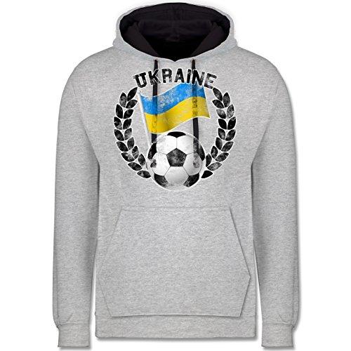 Fußball - Ukraine Flagge & Fußball Vintage - Kontrast Hoodie Grau meliert/Dunkelblau
