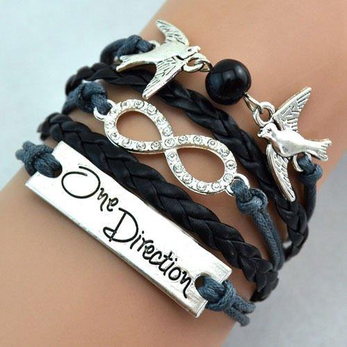 Preisvergleich Produktbild TOLEAP Armband Unendlichkeit Baum des Lebens, Taube Silber Schwarz / Infinity / besser Lederband / anhänger / One Direction (Modell 18)