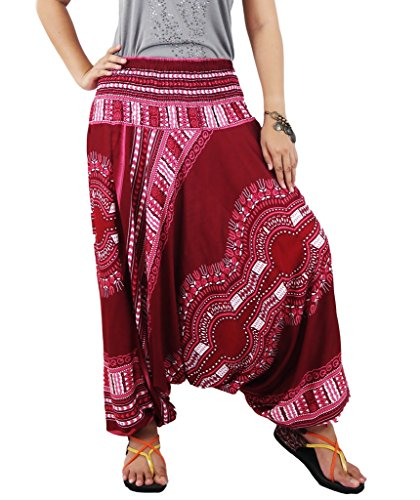 authenticasia- Dae Dashiki collezione 2 in 1 Pantaloni harem e tuta DAE-05_Red Taglia (Mens Dashiki)