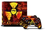 PS4 Console Design Folie Aufkleber Sticker Skin fur Sony PlayStation 4 System plus Two(2) Decals for: PS4 Dualshock Controller - Meltdown