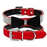 Lushpetz Hundehalsband mit Fliege mit Strass Sparkly Diamante Design by für Kleine und mittlere Hunde (Klein, Rot und Schwarz)