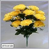 18 head yellow carnation artificial silk bush wedding/grave/vase