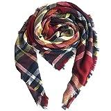 Magogo Frauen Schal Winter Weiche Warme Tartan Schals Lange Stola Wraps Mode Quaste Schal (FX10)