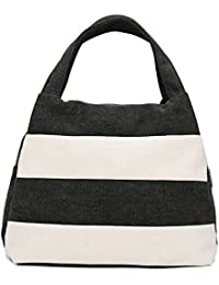 Hiigoo Ladies Handbag Stripes Daily Packages Travel Bag Canvas Bags Shopping Bag Ipad Bag - B01N9OR3PP