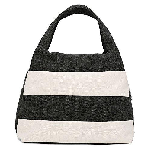 Hiigoo Ladies Handbag Stripes Daily Packages Travel Bag Canvas Bags Shopping Bag Ipad Bag - B01N9OR3PP