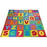 Baybee Premium Multi-Color EVA Mats for Kids- 36 PCs- A to Z Aplhabet & 0 to 9 Numbers- and colors may vary (1 Feet x 1 Feet Single- 36 PCs Kit)