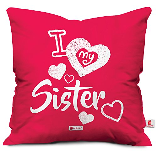 71 Indibni I Love My Dear Sis Quote Printed Pink Cushion Cover 18x18 Gift