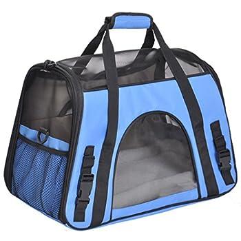 Treat Me Sac de Transport d'animaux Sac à Main Sac à Bandoulière Voyage Respirable en Oxford avec Coussin Lavable et Pliable pour Chien Chat Chiot Bleu M