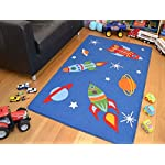 Space Rockets Planets Rugs Childrens Bedroom Mats High Quality Easy Clean 4 Sizes (100x160cms)