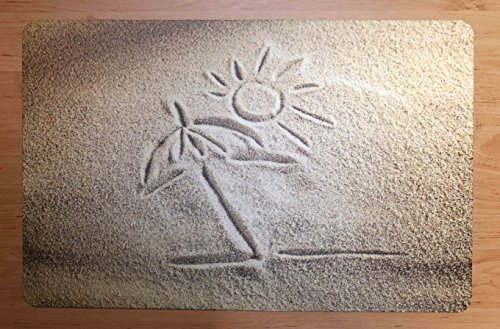 Schreibtischunterlage Palme und Sonne auf Sand 40 x 60 cm, abwischbar