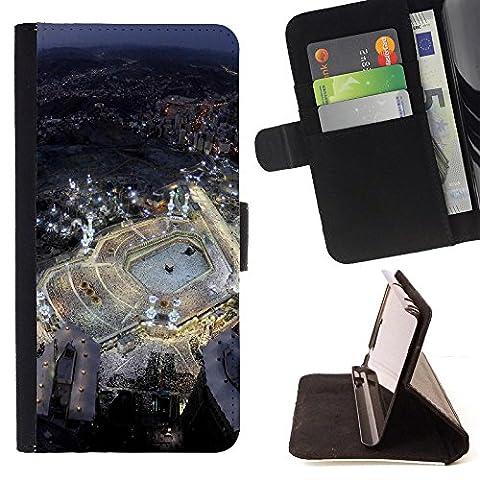 FJCases Mekka Saudi Arabien Postkarte Aussicht Tasche Brieftasche Hülle Schale Standfunktion Schutzhülle für Huawei Y5