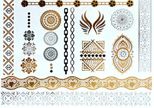 Uj11 - Fake Tattoo für den Körper - Arms - Knöchel - Handgelenk - Bein - Bein - Schulter - Rücken - Mandala - Engelsflügel - Griechisch - Orientalisch - ()