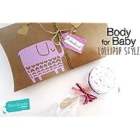 Body in forma di lecca lecca con Scatola Personalizzabile   Original Gift Idea for Babies   PERSONALIZZAZIONI DISPONIBILI: Colori, Nome Bebé, Biglietto d'Auguri, Packaging Deluxe