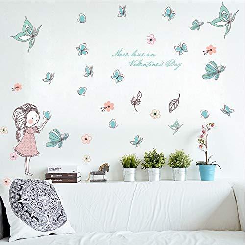 Belle Armoire (WFYY L'autocollant Sur Le Mur Fleur De Papillon Belle Fille Le Salon Chambre Fond Décoratif Décor À La Maison Stickers Muraux)