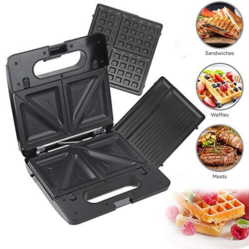 Sinbide 3 en 1 Sandwichera Grill y Gofrera Grill & Toast Sandwichera con Placas de Plancha Grill Antiadherentes Extraíble Piloto Indicador Luminoso Termostato Ajustable (C)