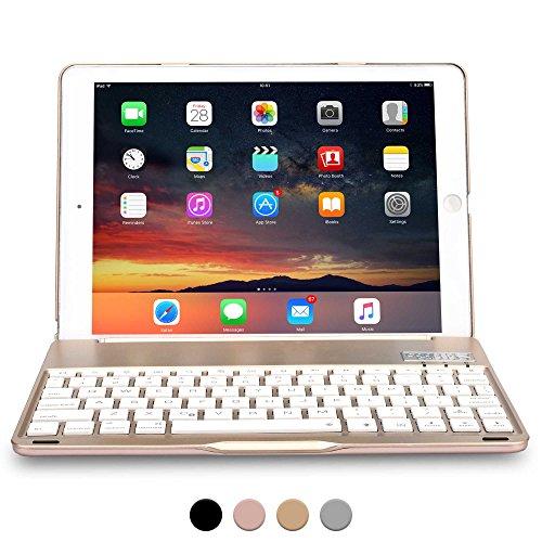 Apple iPad 9.7 New 2017, iPad Air 1 Hülle mit Tastatur, COOPER NOTEKEE F8S Hintergrundbeleuchtung LED Bluetooth kabellos wiederaufladbar Tastatur MacBook Klappgehäuse 7-farbige Hintergrundbeleuchtung Gold Suchen In 6 Sprachen