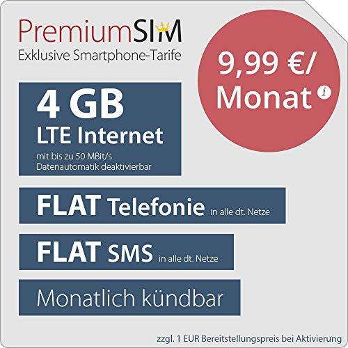 PremiumSIM LTE M Allnet Flat - monatlich kündbar (FLAT Internet 4 GB LTE mit max. 50 MBit/s mit deaktiverbarer Datenautomatik, FLAT Telefonie, FLAT SMS und FLAT EU-Ausland, 9,99 Euro/Monat) Prepaid-handy-sim