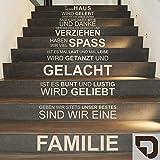 DESIGNSCAPE® Treppentattoo In diesem Haus wird gelebt... sind wir eine Familie Wandtattoo 66 x 177 cm (Breite x Höhe) braun DW801501-L-F9
