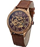 SEWOR Herren Kleid Fall Mechanische Hand Wind Leder Armbanduhr Skeleton Face (Roségold)