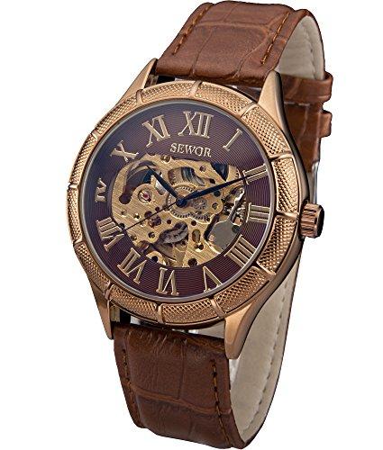 SEWOR Blue Hollow Skeleton Transparent Mechanical Wrist Watch (Brown)
