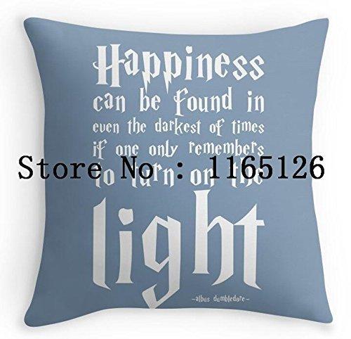 Kenneth Case Cool diseño de frases de felicidad Harry Potter cuadrado de impresión de lujo funda de almohada 18x 45,72cm (un lado)