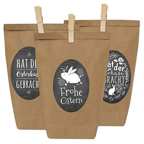 Papierdrachen 12 Geschenktüten zu Ostern zum Befüllen - mit Stickern - Motiv Schwarze Tafeloptik - Ostergeschenk für Kinder und Erwachsene