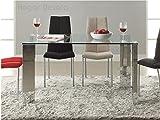 Hogar Decora - Tavolo per sala da pranzo, modello Malinesa, in acciaio