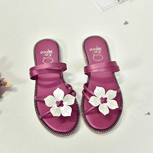 Saingace Frauen Böhmen Sommer Blume weben Sandalen Strand Peep-Toe Flip Flops Schuhe Hot Pink V9T2Bc2i