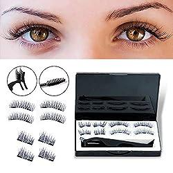 4 Paare von Magnetische Wimpern 3D Seide Wimpern handgemachte Ultra dünne und wiederverwendbare falsche Wimpern weich und komfortabel mit kostenlosen Wimpern Pinzette