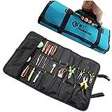 Bolsa de herramientas portátil de electricista, enrollable, varios bolsillos, para destornillador, alicates y llaves, lona, tejido Oxford, impermeable, con asas