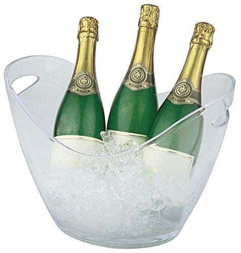 APS Wein und Sekt Flaschenkühler 6 Liter in transparent, 35 x 27cm, Höhe 25,5 cm, mit 2 seitlichen Eingriffen