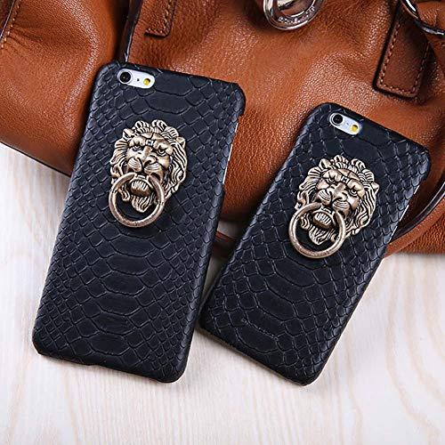 RENNICOCO Ultra Thin Fashion 3D Lion Kopf Metall Ring Halter Schlangenhaut Textur PU Leder Standplatz Fall für iPhone (Iphone-ring-fall)