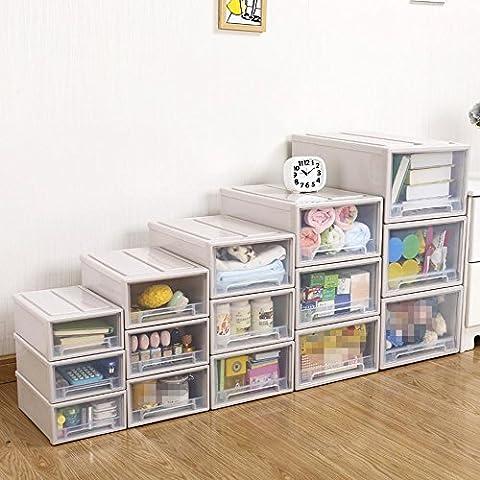 Boîte de rangement tiroir transparent Armoire en plastique Boîte de rangement Boîte de rangement Cabinet Extra Large Lingerie Finishing Box , 3 (36.5*25*14cm)