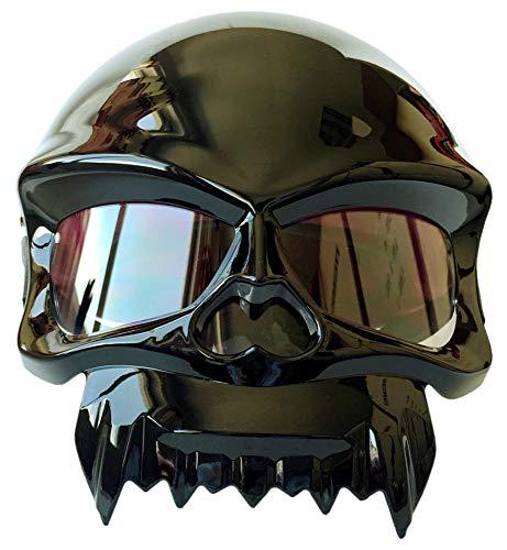 YHBHHW Skull Stil Schutzhelm Motorradhelm Männer und Frauen Geistergesicht Gesicht halb Helm Persönlichkeitshelm Fahrrad Helm Skateboard für Sommerhelm
