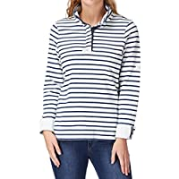Joules Ladies Cowdray Salt Washed Henley Style Cotton Sweater White