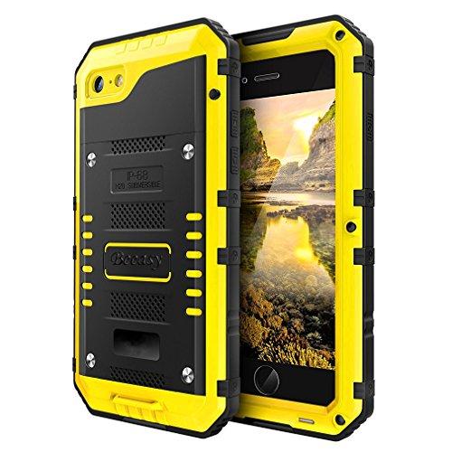Beeasy Handy Case Kompatibel mit iPhone 7/8, [Wasserdicht] Handyhülle Outdoor Stoßfest Militärstandard Schutzhülle mit Displayschutz Metall Schutz Hülle Cover Waterproof Handyschutzhülle,Gelb (Iphone Case Best)