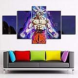 WLQQ Bild auf Leinwand HD Leinwandbild Poster Wohnkultur 5 Stücke Gemälde Modulare Wohnzimmer Wandkunst Bilder Dragon Ball Vegeta Goku Saiyan Leinwanddrucke,B,20x35x2+20x45x2+20x55cmx1