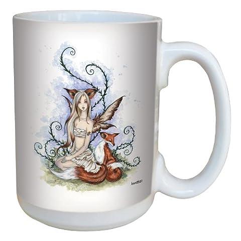 Tree-Free Greetings lm43561 15 oz Fantasy Wild Companions Fox and Fairy Ceramic Mug with Full Sized