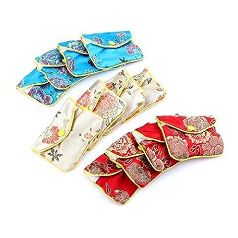 OULII Sacs-cadeaux de chinois traditionnel Brocade pochette Coin Purse broderie bijoux sac, paquet de 12