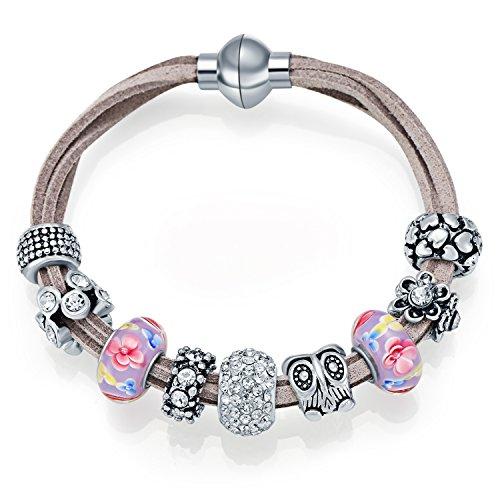 Owl Haltegurt Armbänder MANBARA Damen Charm Armband Kristall Armband mit Blumen Glasperlen und Magnet Schloss für Frauen Armschmuck
