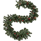 willkey 2.7 m Tannengirlande Weihnachtsgirlande Girlande Weihnachten mit Roter Beeren Zapfen für Weihnachten Deko für Treppen Wand Tür