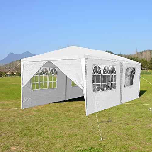 wolketon Pavillons 3x6 m Partyzelt Gartenpavillon mit 6 Seitenwänden 100G PE weiß Gartenzelt für Garten/Party/Hochzeit/Picknick/Markt