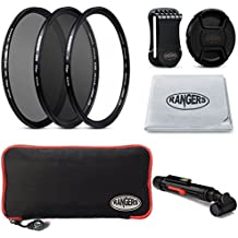 Rangers Ultra-delgada de 62mm Cámara filtro Kit de accesorios - Incluye kit de 49mm (UV, CPL, ND8) + cámara Filtro Bolsa Estuche + Snap-On tapa de la lente w / Cap Guardián Correa + lente paño de limpieza + limpieza de la lente de la pluma