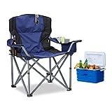 Relaxdays Sedia da campeggio pieghevole, con porta bevande, con schienale e braccioli, 95x 94x 63cm (a x l x p), colore: blu/nero