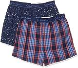 Calvin Klein Herren Boxer Slim 2PK Boxershorts, Blau (Party Print/Grid Plaid Medieval Fbv), Medium (Herstellergröße: M)